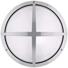 "LBL Geoform Round Cage 13 3/4"" Silver Outdoor Wall Light"