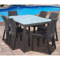 Atlantic Corfu 7-Piece Gray Rectangular Outdoor Dining Set