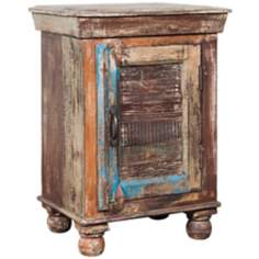 Rustic Block Single-Door Storage Chest