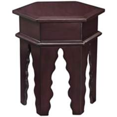 Tannez Marrakesh Espresso Hexagon Wood Accent Table