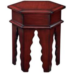 Tannez Marrakesh Cherry Hexagon Wood Accent Table