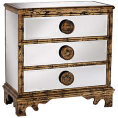 Mirror and Aged Gold 3-Drawer Chest