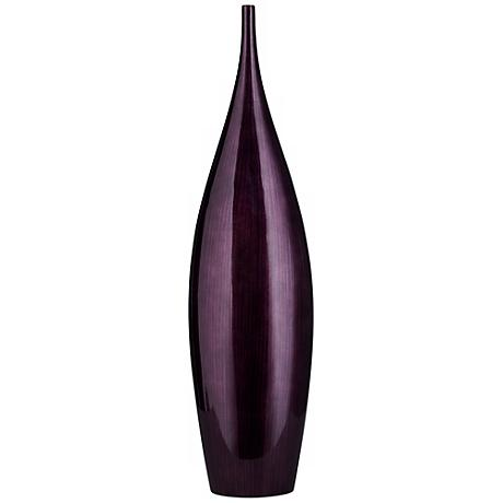 "Large Dark Plum 26 1/2"" High Purple Line Bottle Vase"