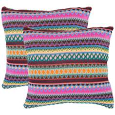 Set of 2 Safavieh Mirabelle Chocolate Burst Accent Pillows