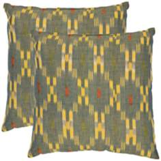 Set of 2 Safavieh Jay Yellow Ikat Accent Pillows