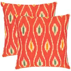 Set of 2 Safavieh Iris Red Ikat Accent Pillows