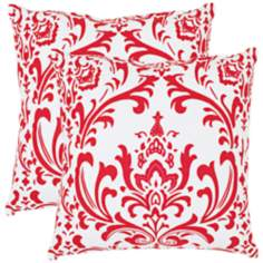 Set of 2 Safavieh Isadora Damask Red Throw Pillows