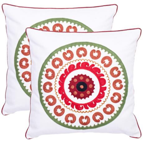 Set of 2 Safavieh Red Sunder Needlework Pillows