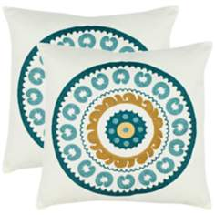 Set of 2 Safavieh Turquoise Sunder Needlework Pillows