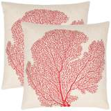 Set of 2 Safavieh Spice Beach Red Coral Fan Pillows