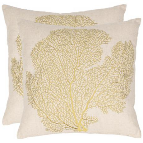 Set of 2 Safavieh Spice Beach Lime Coral Fan Pillows