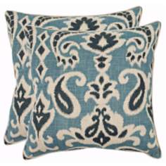 Set of 2 Safavieh Dylan Porch Blue Paisley Pillows