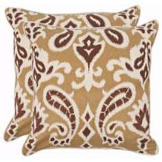 Set of 2 Safavieh Amiri Saffron Dmask Pillows