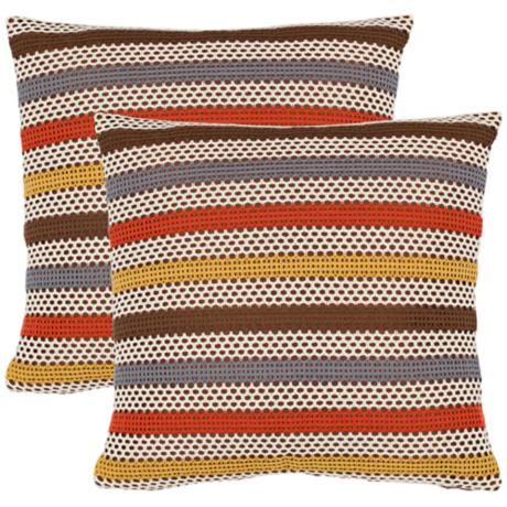 Set of 2 Safavieh Bleeker Brown and Orange Accent Pillows