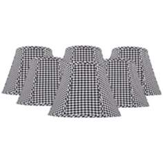Set of 6 Black and White Check Shades 3x6x5 (Clip-On)
