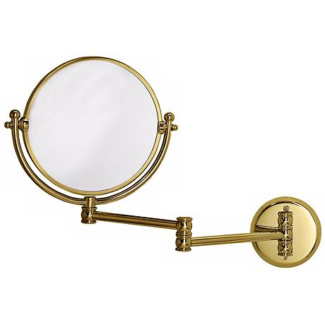 "Gatco Polished Brass 19 1/2"" Wide Swing Arm Wall Mirror"