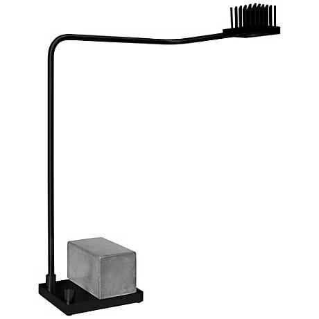 Cerno Onus Black Aluminum and Grey Concrete LED Desk Lamp