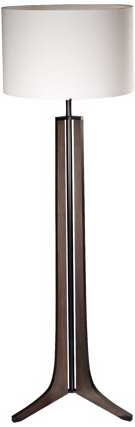 Cerno Forma Black Walnut LED Floor Lamp with Linen Shade (X6766)