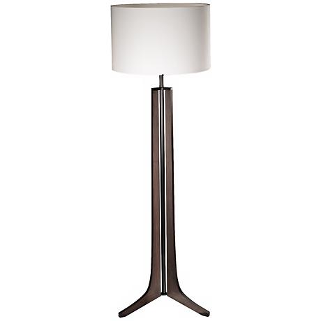 Cerno Forma Black Walnut LED Floor Lamp with Linen Shade