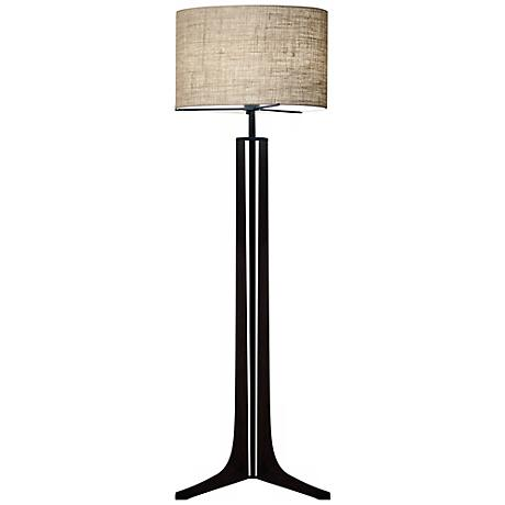 Cerno Forma Black Walnut LED Floor Lamp with Burlap Shade