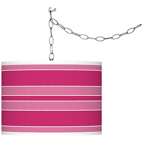 Beetroot Purple Bold Stripe Plug-In Swag Pendant