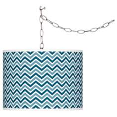 Oceanside Narrow Zig Zag Giclee Glow Plug-In Swag Pendant