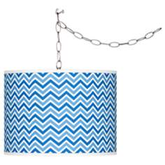 Hyper Blue Narrow Zig Zag Plug-In Swag Pendant