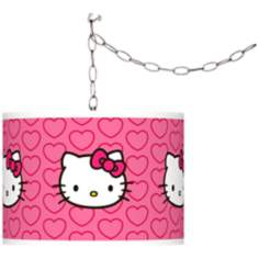 Hello Kitty Hearts Giclee Glow Plug-In Swag Pendant