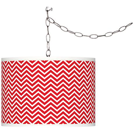 Bright Red Narrow Zig Zag Giclee Glow Swag Pendant