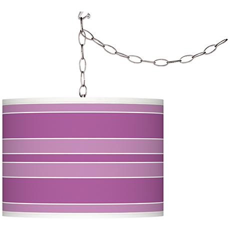 Pink Orchid Bold Stripe Giclee Glow Plug-In Swag Pendant
