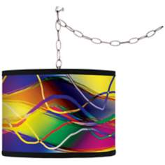 Colors in Motion (Light) Giclee Glow Plug-In Swag Pendant