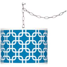 Blue Lattice Giclee Glow Plug-In Swag Pendant