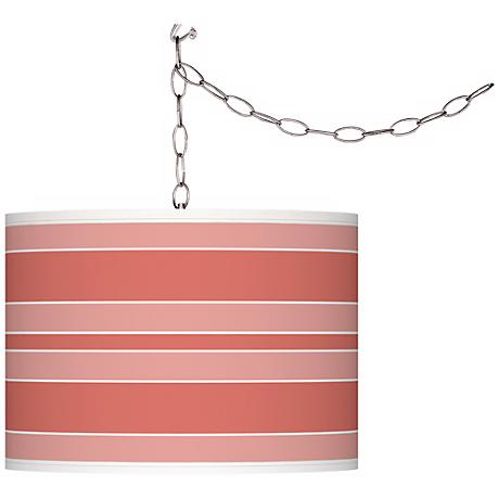 Coral Reef Bold Stripe Giclee Glow Plug-In Swag Pendant