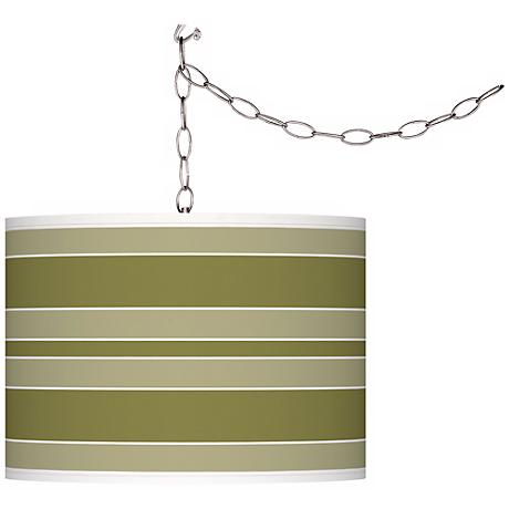 Rural Green Bold Stripe Giclee Glow Plug-In Swag Pendant