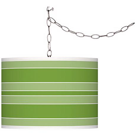 Rosemary Green Bold Stripe Giclee Glow Plug-In Swag Pendant