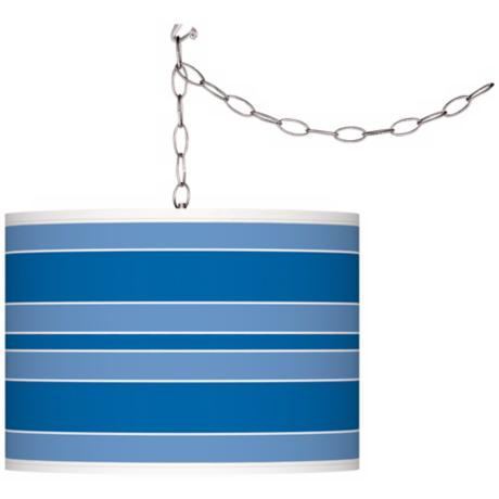 Royal Blue Bold Stripe Giclee Glow Plug-In Swag Pendant