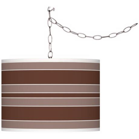 Rugged Brown Bold Stripe Giclee Glow Plug-In Swag Pendant
