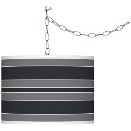 Black of Night Bold Stripe Giclee Glow Plug-In Swag Pendant