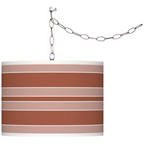 Fawn Brown Bold Stripe Giclee Glow Plug-In Swag Pendant