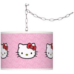 "Hello Kitty Classic 13 1/2"" Wide Silver Plug-In Swag Pendant"