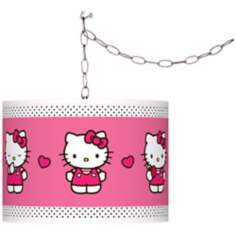 "Hello Kitty Pink and Polka Dots 13 1/2""W Swag Pendant"