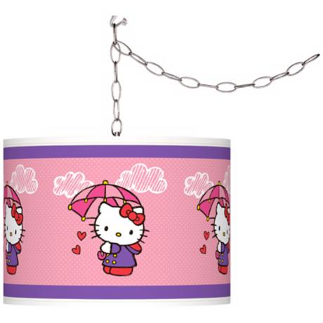 "Hello Kitty Rain or Shine 13 1/2"" Wide Plug-In Swag Pendant"