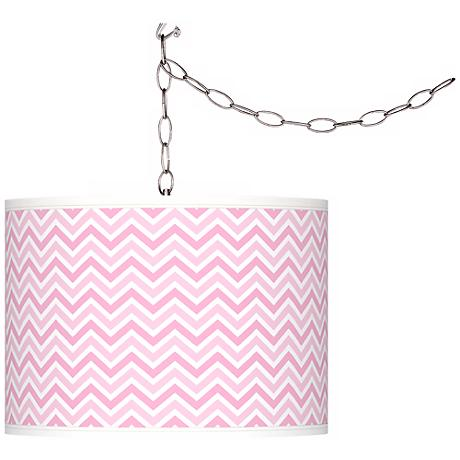 "Pale Pink Narrow Zig Zag 13 1/2"" Wide Plug-In Swag Pendant"