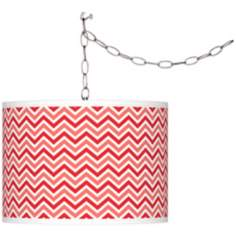 Poppy Red Narrow Zig Zag Giclee Glow Plug-In Swag Pendant
