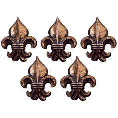 "Port 68 Set of 5 6"" High Gold Fleur-de-Lis Wall Ornaments"