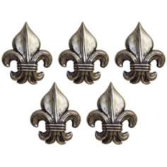 "Port 68 Set of 5 Silver 6""H Fleur-De-Lis Wall Ornaments"