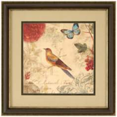 "Nature's Rhapsody I Square 29"" Bird and Butterfly Wall Art"
