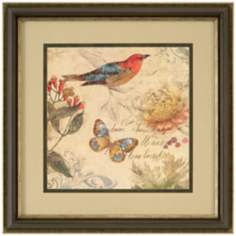 "Nature's Rhapsody II Square 29"" Bird and Butterfly Wall Art"