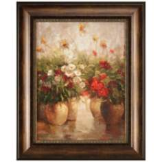 "Red White and Gold 31 1/2"" High Framed Floral Wall Art"