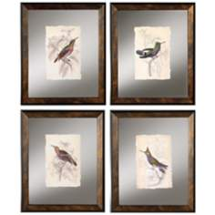Set of 4 Jardine Hummingbird Framed Wall Art Prints